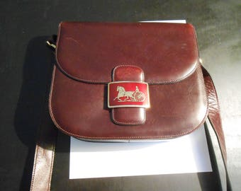 "Vintage Celine (Paris) leather burgundy shoulder bag--8 1/2"" x 7 1/2"" x 2 1/2"""
