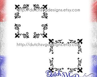 2 Corner border cutting files with french lily, in Jpg Png SVG EPS DXF, Cricut svg, Silhouette cut file, fleur de lis svg, corner border svg