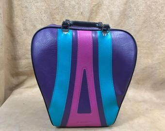 Bowling Ball Bag Purple Pink 80s 70s // Bold Colors Vinyl Carry On Bag Weekend Duffel