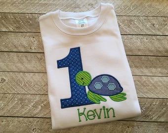 Turtle Birthday shirt - Sea Turtle Birthday - First birthday shirt for boys - Boy 1st birthday outfit - Sea Turtle outfit - cake smash shirt