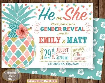 Pineapple Co-ed Baby Shower Invite Gender reveal Boy Girl Invitation Digital Printable Pool Party Beach Luau Hawaiian BSP3