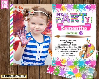 Painting Party Invitation, Art Party Invitation, Art Birthday Party Invitation, Art Themed Party, Paint Party Invites, Painting Party Paint4