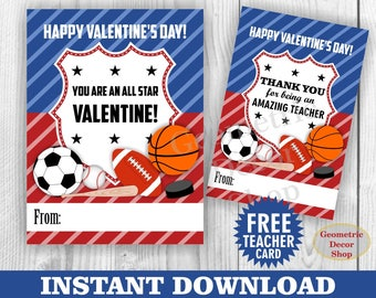 Instant Download / Soccer / baseball / hockey / volleyball / Valentine / Card / Valentines / Valentine's Day / Tags / teacher / Kids VCard33