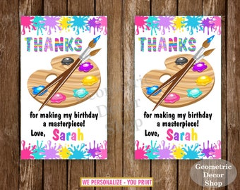 Paint Favor Tags, Art Party Bag Tags, Painting Birthday Party, Birthday Favor Tags, Party Favor Tags, Pink Purple Teal Yellow, Girl FTPaint2