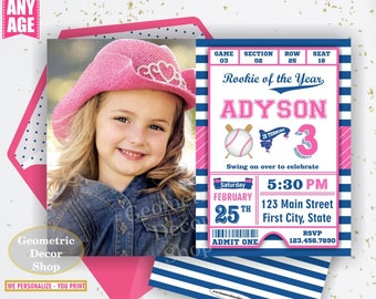 Birthday invitation Vintage Baseball Sports Invite 1st 2nd 3rd any age All star invitations Ball pink blue invites girl photo photograph P29