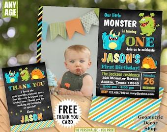 MONSTER / Birthday / Invitation / Monster / 1st 2nd 3rd / Invite / Monster Party Invite Little Monster Chalkboard green teal orange BDM1