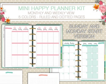 Mini Happy planner printable kit weekly and monthly planner inserts ruled and dotted pages PDF instant download mambi planner