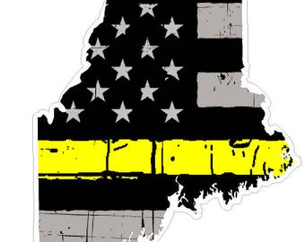 Maine State (E20) Thin Yellow Line Dispatch Vinyl Decal Sticker Car/Truck Laptop/Netbook Window