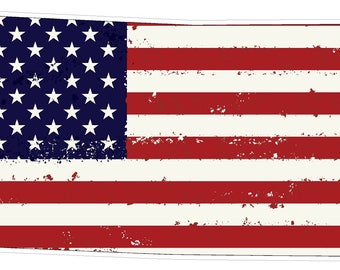 Kansas State (J17) USA Flag Distressed Vinyl Decal Sticker Car/Truck Laptop/Netbook Window