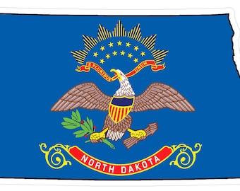 North Dakota State (Q35) Shape Flag Vinyl Decal Sticker Car/Truck Laptop/Netbook Window