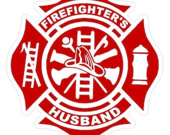 "Firefighter's Husband (T28) Maltese Cross 4"" Vinyl Decal Sticker Car Window"
