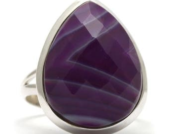 Purple Agate Ring, 925 Sterling Silver, Unique only 1 piece available! SIZE 7.50 (inner diameter 17.67mm), color purple, weight 5.9g, #35