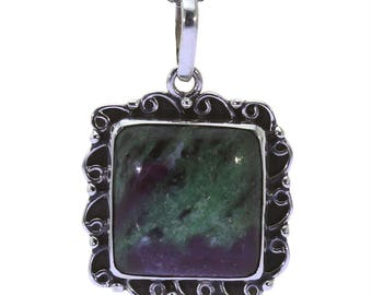 Created Ruby Zoisite Pendant, 925 Sterling Silver, Unique only 1 piece available! color green, weight 5.7g, #36840