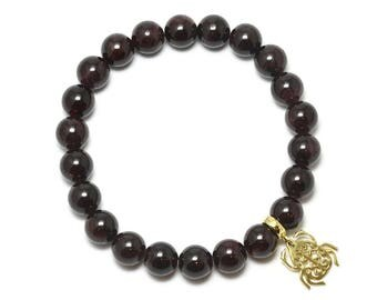 Garnet Beaded Bracelet with Sterling Silver Charm, Unique only 1 piece available! , color red, #45889