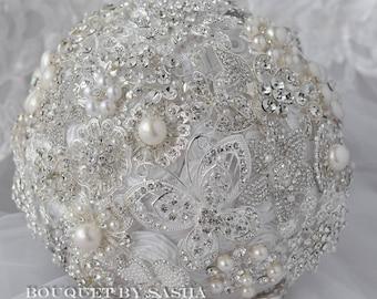 Wedding pearl white brooch bouquet, Silver jewelry bridal bouquet, Crystal rhinestone bouquet, Butterfly brooch bouquet, Classic bouquet.