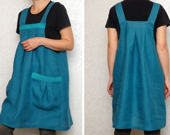 Linen Apron Natural Linen Overalls Linen Apron Dress Tunic Japanese Apron Full apron Womens Aprons Crafter gift idea craft gift for wife