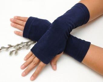 Beauty gift Christmas gift for Wife Birthday gift for her Dark Blue Fingerless gloves Fabric gloves Fingerless Mittens Mitts Hand warmers
