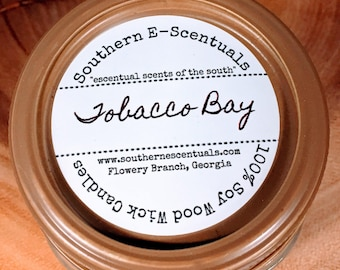 Tobacco Bay, Tobacco Scented Candle, Wood Wick Candle, Soy Candle, Mason Jar Candle, Man Cave Candle, Candles for Men, Father's Day Gift