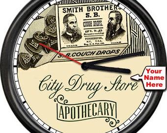 Personalized Retro Vintage Pharmacy Drug Store Apothocary Pharmacist Sign Wall Clock