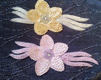 70s/80s  Sequin and Beaded  Flower Applique
