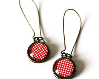 Large red gingham Cabochon earrings