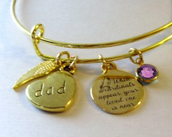 """DAD - When Cardinals Appear Your Love One Is Near """"W/ Birthstone  -   Feather -Lost Of Love One - Gift Personalize  Gift For Her Usa G1"""