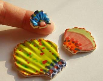 MADE to ORDER: 3 Seashell tiles. ITPH Ceramic pottery, neon bright retro crystalline. Mosaic beach sign mailbox decor magnet aromatherapy