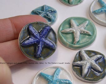 READY to SHIP Choose your colors Starfish 3D round ITPH Ceramic pottery mosaic tile Beach House Garden Mailbox Decor Magnet Diffuser Cab