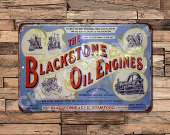 1855 Blackstone Oil Engines Vintage Look Reproduction Metal Sign 8 X 12 8120367