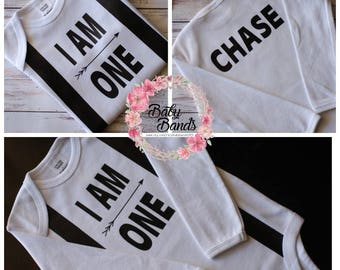 Personalised I Am One first birthday Onesie/top with suspenders design.
