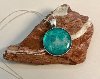 """Resin pendant """" beach """" antique silver color"""