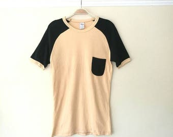 Vintage 1970s apricot orange x black pocket T-shirt