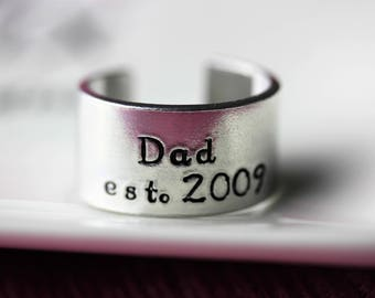 IN STOCK Father's day gift, dad cuff ring, personalised hand stamped ring, aluminium ring, rustic ring