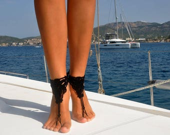 Barefoot Sandals, Black Crochet Barefoot Sandal, Summer Accessory, Beach Party, Boating, Foot Jewelry, Gift for Her, Black Beach Shoes