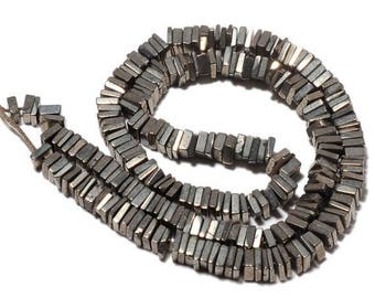 ON SALE 50% Grey Pyrite 8 Inches Half Strand - Finest Quality Square Heishi Beads Size 5.5mm approx, Natural Gemstone, SKU M59