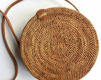 Round rattan basket bag, Bohemian round shoulder bag,Round shoulder bag, Woven Ata bag