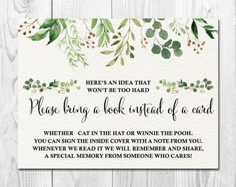 Botanical Greenery Baby Shower Bring a Book instead of a Card, Printable Download,Watercolor Green Foliage Gender Neutral  Insert, UE3223