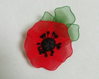 nylon poppy brooch,red poppy,poppy brooch,handmade flower brooch,handmade poppy,handmade brooch,flower brooch,unique poppy,Mother's day