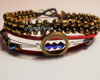 Bracelet Simply red and Bronze