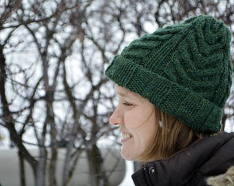 Green Winter Knit Hat / Knitted Hat / Winter Hat / Cable Knit Hat