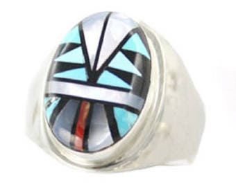 Oval Inlay Multi Color Men's Ring