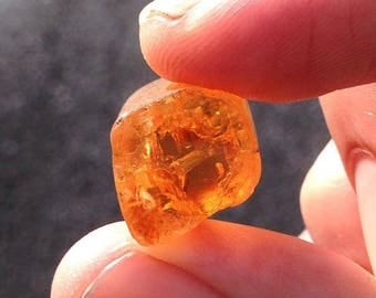 Double Terminated IMPERIAL TOPAZ w/ Open C-AXIS of Fire! 100% Natural Phoenix Orange Gemmy 57 Carat Floater Crystal - Ouro Preto Brazil 1983