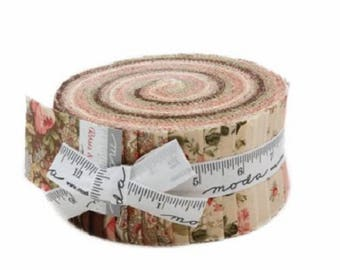 "Moda Fabric ~ Jelly Roll ~ Roses & Chocolate ~ (40) 2.5"" Cotton Quilting Strips"