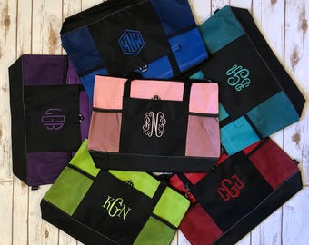Embroidered Tote - Monogrammed bag - Monogram tote - Monograms -  Monogrammed zippered tote -Monogrammed tote - Personalized bag