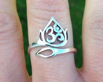 Lotus Ring Yoga Jewelry Lotus Openwork Ohm Flower Spiritual 925 Sterling Silver Adjustable UK Size J K L M N O P 29
