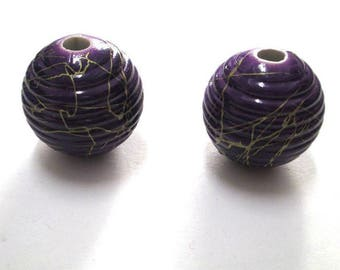 2 Gold, purple acrylic beads 19mm