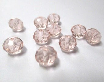 10 faceted light pink glass 6x8mm rondelle beads