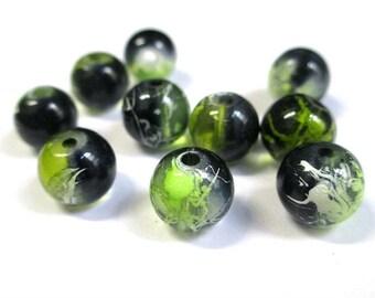 10 black, green translucent 10mm beads