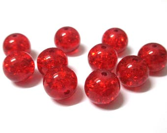 10 Red Crackle Glass (S-1) 10mm beads