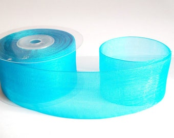 1 m 40mm blue organza Ribbon